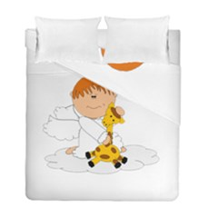 Pet Giraffe Angel Cute Boy Duvet Cover Double Side (full/ Double Size) by Nexatart