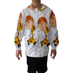 Pet Giraffe Angel Cute Boy Hooded Wind Breaker (kids) by Nexatart
