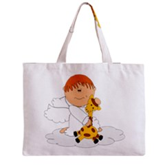 Pet Giraffe Angel Cute Boy Medium Zipper Tote Bag by Nexatart