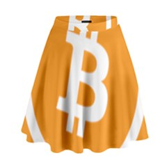 Bitcoin Cryptocurrency Currency High Waist Skirt by Nexatart