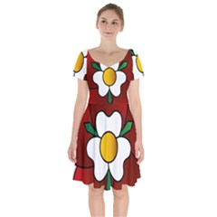 Flower Rose Glass Church Window Short Sleeve Bardot Dress by Nexatart