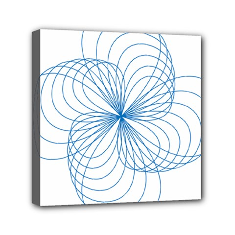 Blue Spirograph Pattern Drawing Design Mini Canvas 6  X 6  by Nexatart