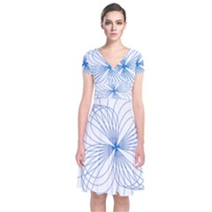 Blue Spirograph Pattern Drawing Design Short Sleeve Front Wrap Dress