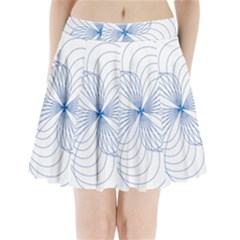Blue Spirograph Pattern Drawing Design Pleated Mini Skirt by Nexatart