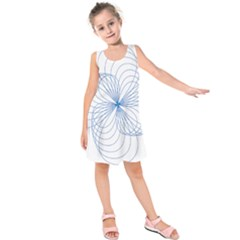 Blue Spirograph Pattern Drawing Design Kids  Sleeveless Dress
