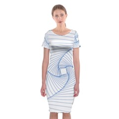 Spirograph Pattern Drawing Design Classic Short Sleeve Midi Dress