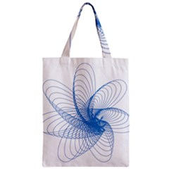 Spirograph Pattern Drawing Design Blue Zipper Classic Tote Bag by Nexatart