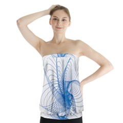 Spirograph Pattern Drawing Design Blue Strapless Top by Nexatart