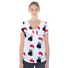 Pattern Sheep Parachute Children Short Sleeve Front Detail Top