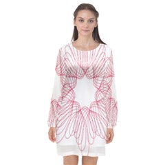Spirograph Pattern Drawing Design Long Sleeve Chiffon Shift Dress  by Nexatart