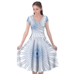 Spirograph Pattern Circle Design Cap Sleeve Wrap Front Dress