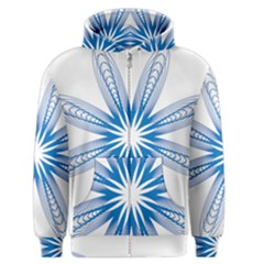 Blue Spirograph Pattern Circle Geometric Men s Zipper Hoodie