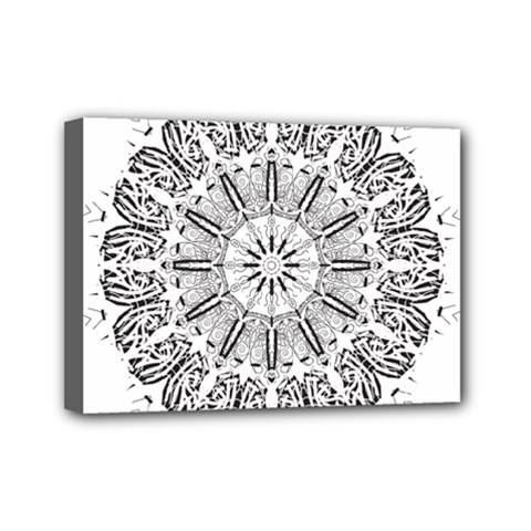 Art Coloring Flower Page Book Mini Canvas 7  X 5  by Nexatart