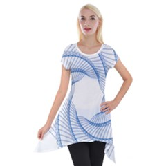 Spirograph Spiral Pattern Geometric Short Sleeve Side Drop Tunic