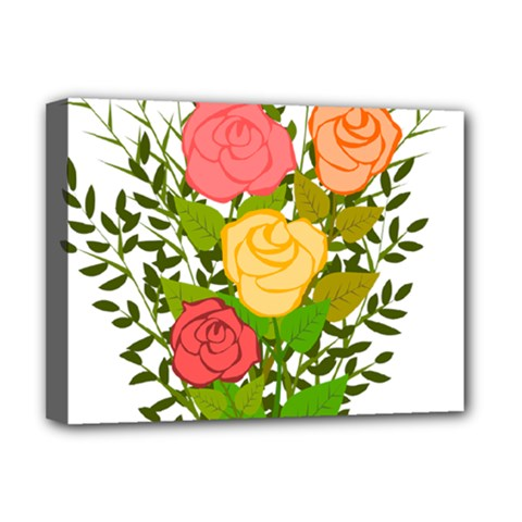 Roses Flowers Floral Flowery Deluxe Canvas 16  X 12   by Nexatart