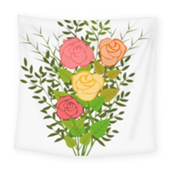 Roses Flowers Floral Flowery Square Tapestry (large)