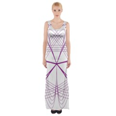 Purple Spirograph Pattern Circle Geometric Maxi Thigh Split Dress by Nexatart