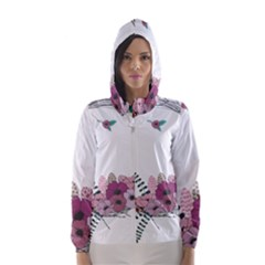 Flowers Twig Corolla Wreath Lease Hooded Wind Breaker (women)