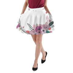 Flowers Twig Corolla Wreath Lease A Line Pocket Skirt