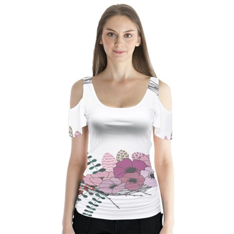 Flowers Twig Corolla Wreath Lease Butterfly Sleeve Cutout Tee  by Nexatart