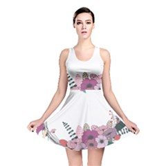 Flowers Twig Corolla Wreath Lease Reversible Skater Dress by Nexatart