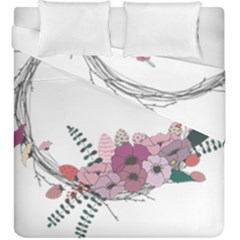 Flowers Twig Corolla Wreath Lease Duvet Cover Double Side (king Size) by Nexatart