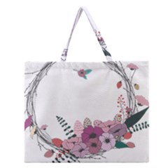 Flowers Twig Corolla Wreath Lease Zipper Large Tote Bag by Nexatart