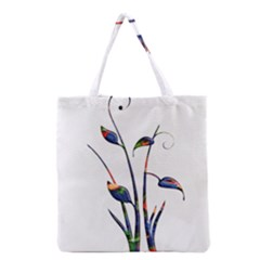 Flora Abstract Scrolls Batik Design Grocery Tote Bag by Nexatart