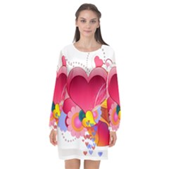 Heart Red Love Valentine S Day Long Sleeve Chiffon Shift Dress