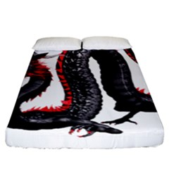 Dragon Black Red China Asian 3d Fitted Sheet (king Size)