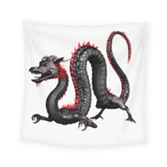 Dragon Black Red China Asian 3d Square Tapestry (small) by Nexatart