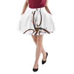 Abstract Shape Stylized Designed A Line Pocket Skirt by Nexatart