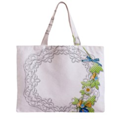 Scrapbook Element Lace Embroidery Zipper Mini Tote Bag