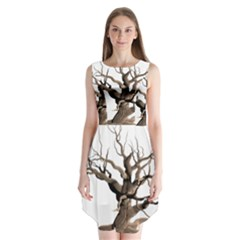 Tree Isolated Dead Plant Weathered Sleeveless Chiffon Dress   by Nexatart