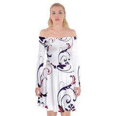 Scroll Border Swirls Abstract Off Shoulder Skater Dress