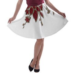 Scrapbook Element Nature Flowers A Line Skater Skirt