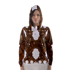 Cross Golden Cross Design 3d Hooded Wind Breaker (women)