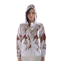 Floral Spray Gold And Red Pretty Hooded Wind Breaker (women)