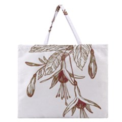 Floral Spray Gold And Red Pretty Zipper Large Tote Bag by Nexatart