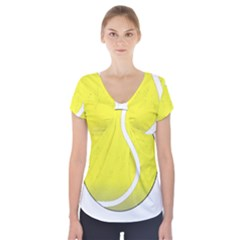 Tennis Ball Ball Sport Fitness Short Sleeve Front Detail Top by Nexatart