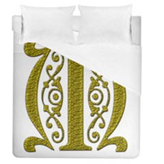 Gold Scroll Design Ornate Ornament Duvet Cover (queen Size) by Nexatart