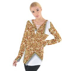 Star Glitter Women s Tie Up Tee