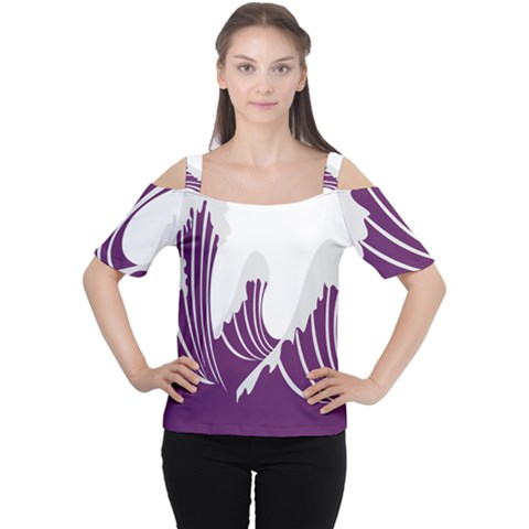 Waves Purple Wave Water Chevron Sea Beach Women s Cutout Shoulder Tee by Mariart
