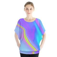 Aurora Color Rainbow Space Blue Sky Purple Yellow Blouse