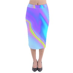 Aurora Color Rainbow Space Blue Sky Purple Yellow Velvet Midi Pencil Skirt