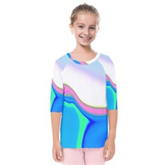 Aurora Color Rainbow Space Blue Sky Purple Yellow Green Kids  Quarter Sleeve Raglan Tee by Mariart