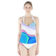 Aurora Color Rainbow Space Blue Sky Purple Yellow Green Halter Swimsuit by Mariart