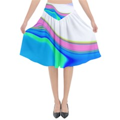Aurora Color Rainbow Space Blue Sky Purple Yellow Green Flared Midi Skirt by Mariart