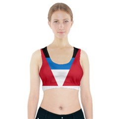 Banner Flag Sun Line Chevron Red White Black Blue Sports Bra With Pocket by Mariart