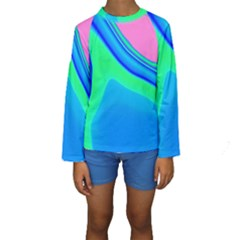 Aurora Color Rainbow Space Blue Sky Kids  Long Sleeve Swimwear by Mariart